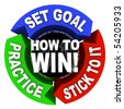 How to Win - set goals, practice and stick to it - stock photo