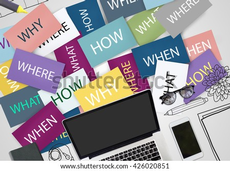 How Where Why When Question Cards Concept - stock photo