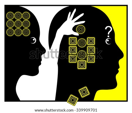How Women change Men. Humorous concept sign of woman manipulating man by gradually changing his mind according of her own perception - stock photo