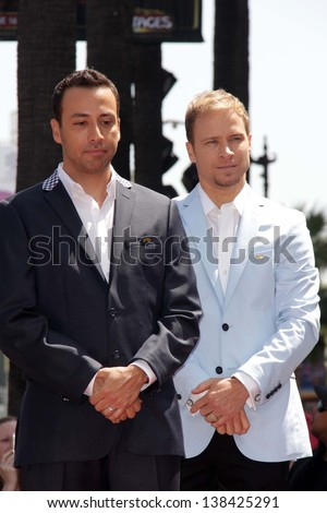 "Howie Dorough, Brian Littrell at the ""Backstreet Boys"" Star on the Walk of Fame, Hollywood, CA 04-22-13"
