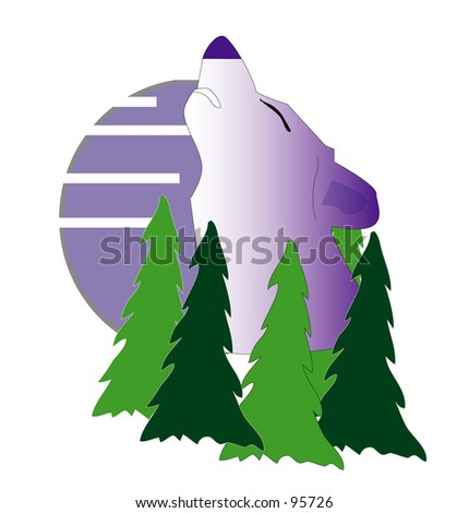 Howling Wolf at moon  above trees illustration - stock photo