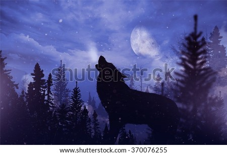 Howling Wolf in Wilderness. Mountain Landscape with Falling Snow, Moon and the Howling Alpha Wolf Illustration. - stock photo
