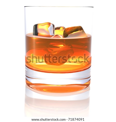 HQ 3d - whiskey - stock photo