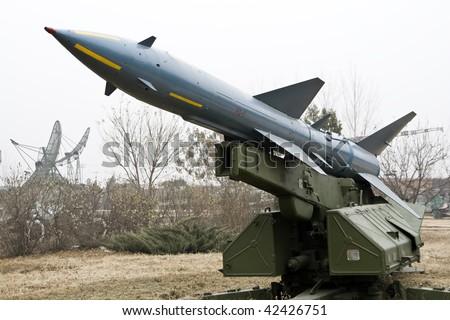 HQ-2 medium-range ground-to-air missile in china - stock photo