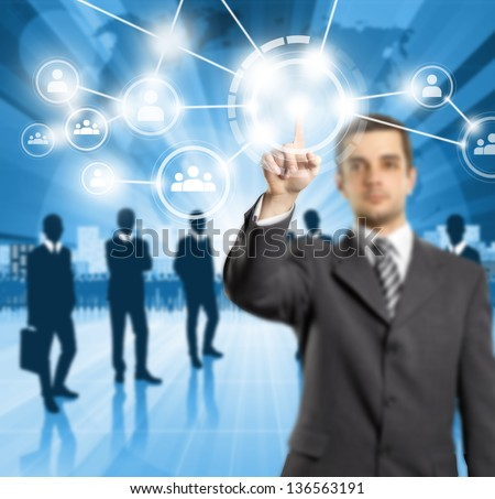 HR concept. Business man push the button on virtual touch pad - stock photo