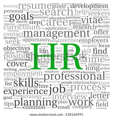 HR - human resources concept in tag cloud on white background - stock photo