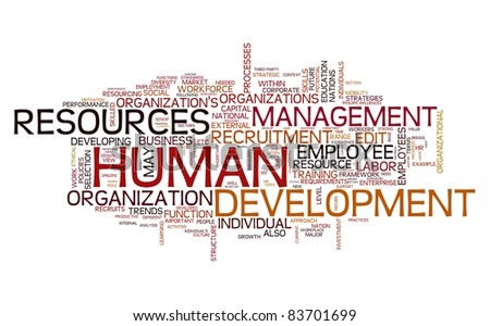 HR - Human resources development concept in word tag cloud - stock photo