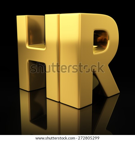 HR letters on black background with reflection. Human resources or recruitment golden acronym - stock photo