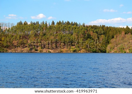 Hracholusky dam. Water reservoir and famous fishing place in Czech republic, European Union. - stock photo