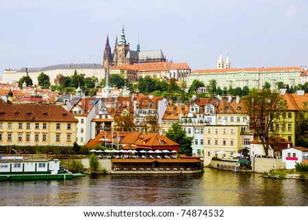 Hradcany and the Prague Castle architecture in Czech Republic - stock photo