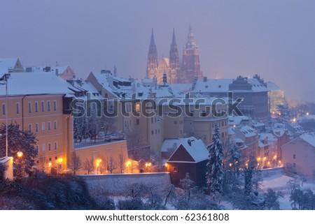 Hradcany in winter, Prague, Czech Republic - stock photo