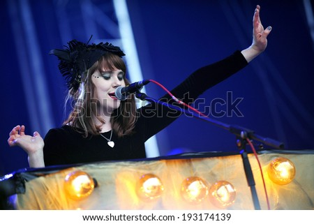 HRADEC KRALOVE - JULY 3: English singer and songwriter Kate Nash during her performance on festival Rock for People in Hradec Kralove, Czech republic, July 3, 2011. - stock photo