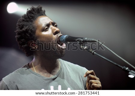HRADEC KRALOVE - JULY 2: Singer Kele Okereke of British indie-rock band Bloc Party during performance at festival Rock for People in Hradec Kralove, Czech republic, July 2, 2013.