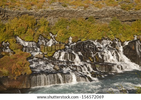 Hraunfossar waterfall in Iceland in the autumn - stock photo