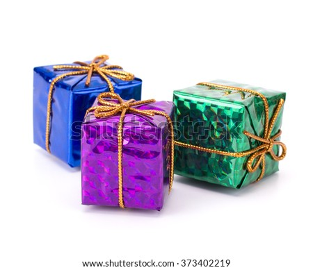 hristmas decorative gift boxes, drums and balls isolated on white background