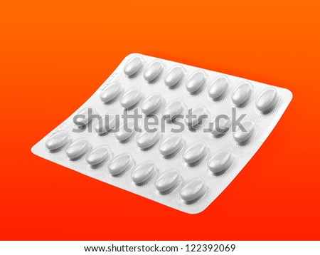 HRT - Hormone replacement therapy tablets, on fiery orange background