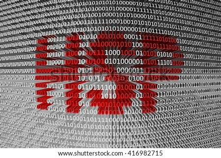 HSP in the form of binary code, 3D illustration