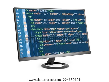HTML code on computer monitor isolated over white - stock photo
