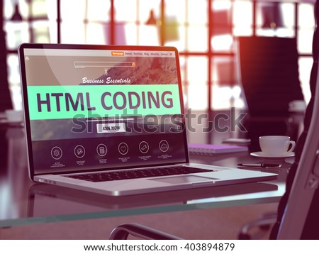 Html Coding Concept Closeup on Laptop Screen in Modern Office Workplace. Toned Image with Selective Focus. 3D Render. - stock photo