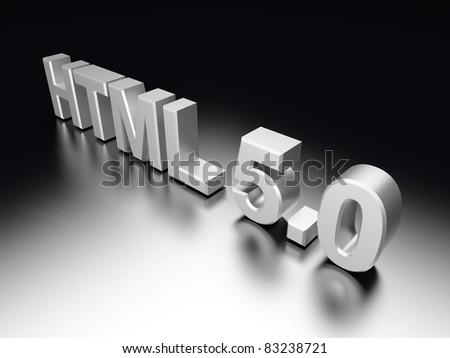 HTML 5.0. 3D rendered Illustration. - stock photo