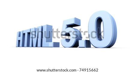 HTML 5.0. 3D rendered Illustration. Isolated on white. - stock photo