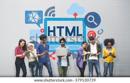 HTML Internet Coding Website Software Concept - stock photo