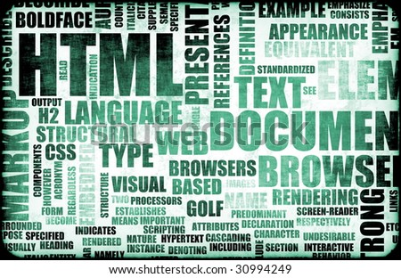 HTML Script Code as an Education Background - stock photo
