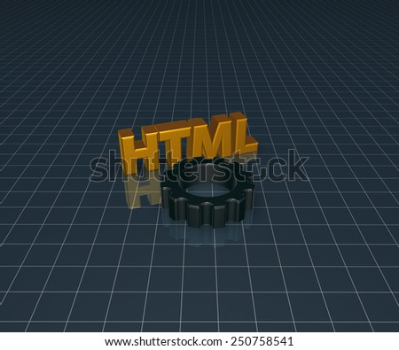 html tag and gear wheel - 3d illustration - stock photo