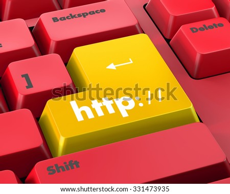 Http button on keyboard key - business concept - stock photo
