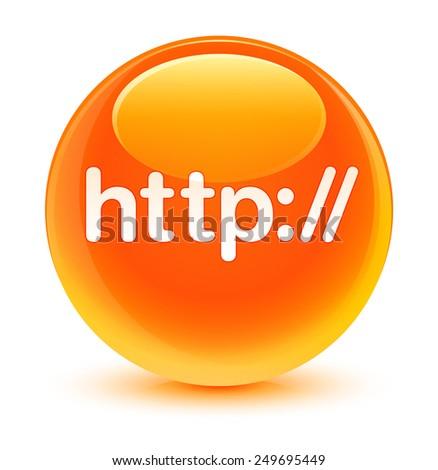 Http glassy orange button - stock photo