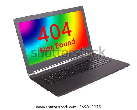 HTTP Status code on a laptop screen  - 404, Not Found - stock photo