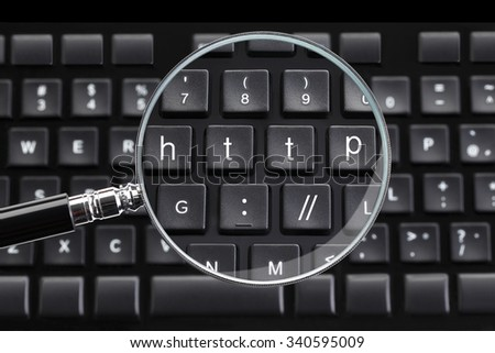 http:// written on keyboard with magnifying glass