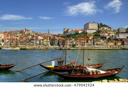 Douro river and traditional boats in Porto, Portugal