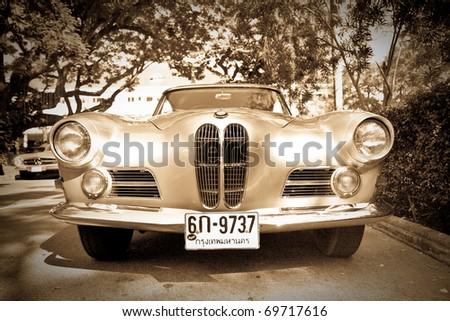HUA HIN - DECEMBER 18: BMW 503 , 1956 year. Retro Car on Vintage Car Parade 2010 at Sofitel Resort on December 18, 2010 in Hua Hin, Thailand. - stock photo