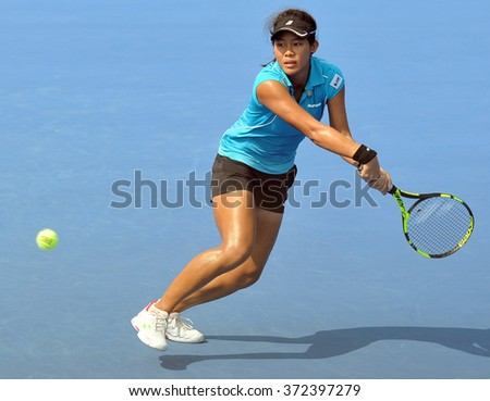 HUA HIN - Feb 5 : Bunyawi Thamchaiwat of Thailand in action during a match of Fed Cup by BNP Paribas Zone Asia/Oceania Group1 at True Arena Hua Hin on February 5, 2016 in Hua Hin, Thailand