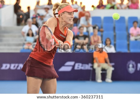 HUA HIN-JAN 1:Angelique Kerber of Germany in action during a match of WORLD TENNIS THAILAND CHAMPIONSHIP 2016 at Hua Hin Centennial Club on January 1, 2016 in Hua Hin, Thailand - stock photo