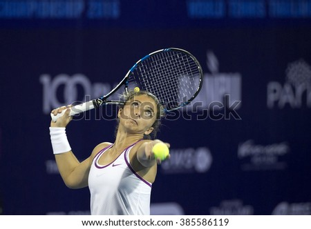 Hua Hin-Jan 1: Sara Errani of Italy in action during a match of WORLD TENNIS THAILAND CHAMPIONSHIP 2016 at True Arena Hua Hin on January1, 2016 in Hua Hin, Thailand.