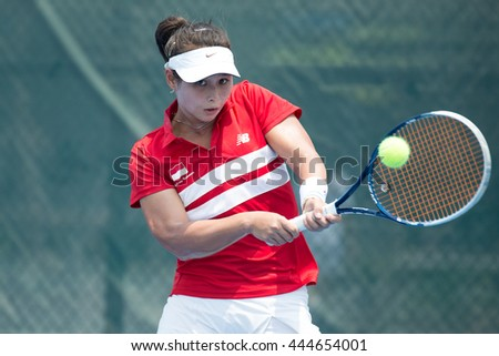 HUA HIN, THAILAND-APRIL 13:Beatrice Gumulya of Indonedia returns a ball during Day 3 of Fed Cup by BNP Paribas on April 13, 2016 at True Arena Hua Hin in Hua Hin, Thailand