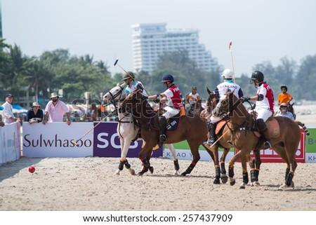 HUA HIN, THAILAND - APRIL 19: France Polo Team (white-red) plays against Thai Polo Team (white-blue) during 2014 Beach Polo Asia Championship on April 19 2014 in Hua Hin, Thailand. - stock photo