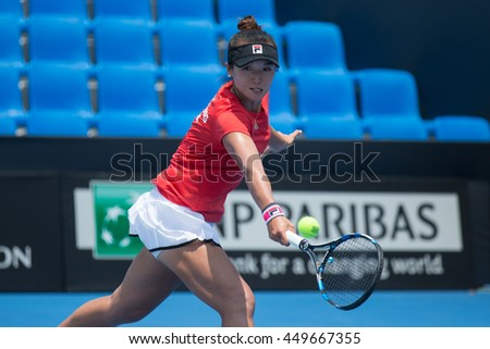 HUA HIN, THAILAND-APRIL 12:Ling Zhang of Hong Kong China returns a ball during Day 2 of Fed Cup by BNP Paribas on April 12, 2016 at True Arena Hua Hin in Hua Hin, Thailand