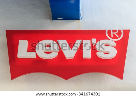 HUA HIN, THAILAND - DEC 15: Levi's trademark at Santorini Park on Dec 15, 2014 in Hua Hin. Livi's is a privately held American clothing company known worldwide for its Levi's.