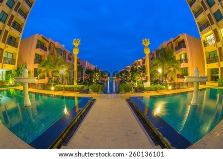 "HUA HIN, THAILAND - DEC 13: Main pool of Marrakech Hotel on Dec 13, 2014 in Hua Hin. The design of the hotel was Inspired by rich and colorful culture of Morocco's Marrakech or ""a city of red""."