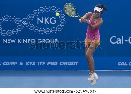 HUA HIN, THAILAND-DECEMBER 3:Chieh-Yu Hsu of Chinese Taipei returns a ball during the final of ITF Thailand Women's Pro Circuit on December 3, 2016 at True Arena Hua Hin in Hua Hin, Thailand