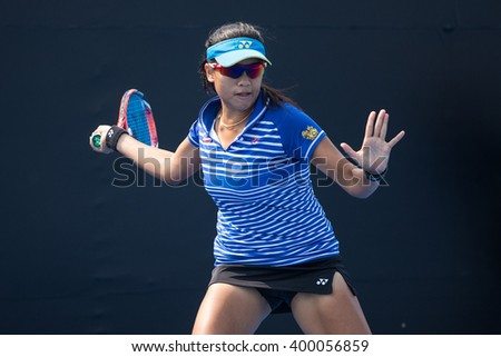 HUA HIN, THAILAND-FEBRUARY 6:Kamonwan Buayam of Thailand returns a ball during Day 4 of Fed Cup by BNP Paribas on February 6, 2016 at True Arena Hua Hin in Hua Hin, Thailand
