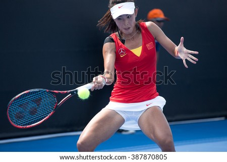 HUA HIN, THAILAND-FEBRUARY 3:Qiang Wang of China returns a ball during Day 1 of Fed Cup by BNP Paribas on February 3, 2016 at True Arena Hua Hin in Hua Hin, Thailand