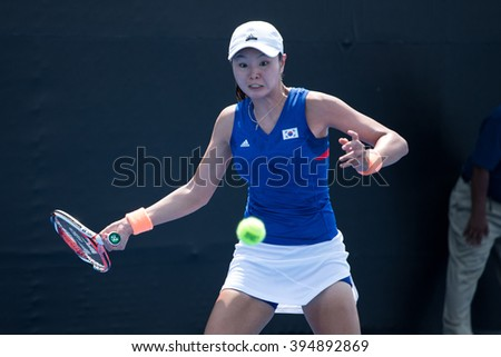 HUA HIN, THAILAND-FEBRUARY 4:Su Jeong Jang of South Korea returns a ball during Day 2 of Fed Cup by BNP Paribas on February 4, 2016 at True Arena Hua Hin in Hua Hin, Thailand