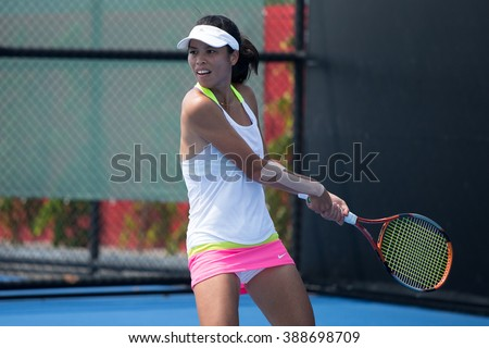 HUA HIN, THAILAND-FEBRUARY 3:Su-Wei Hsieh of Chinese Taipei returns a ball during Day 1 of Fed Cup by BNP Paribas on February 3, 2016 at True Arena Hua Hin in Hua Hin, Thailand