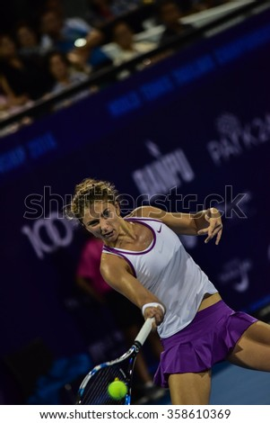 Hua Hin Thailand - Jan1:World No.20 Tennis player Sara Errani in World Tennis Thailand Championship 2016 Errani had lost to Aginieszka Radwanska 1-6,3-6 on January1,2016 at True Arena Hua Hin,Thailand