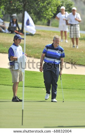 HUA HIN, THAILAND - JANUARY 9: Colin Montgomerie action in The Royal Trophy Tournament at Black Mountain Golf Club Hua Hin Thailand on January 9, 2011.