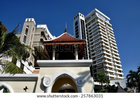 Hua Hin, Thailand - January 1, 2010:  The five-star Hilton Hotel and Resort is one of Hua Hin's finest luxury hotels - stock photo